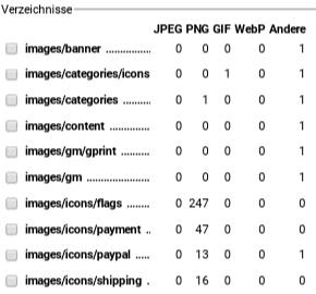 Tabelle mit einem Verzeichnis pro Zeile und Spalten mit der Anzahl JPEG, PNG, GIF, WebP sowie Andere