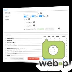 Screenshot WebP im Gambio-Backend und web-p-Logo