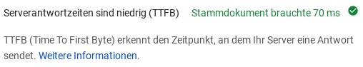 Serverantwortzeiten sind niedrig (TTFB): Stammdokument brauchte 70 ms