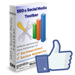 Facebook Gefällt-mir-Daumen vor SEO & Social Media Toolbar für Gambio Softwarebox