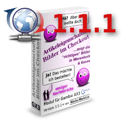 Artikeleigenschaften-Bilder im Checkout für Gambio GX3: Update Version 1.1.1
