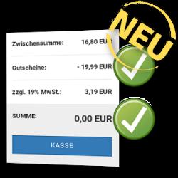 Neu: Zwischensumme: 16,80 EUR, Gutscheine: - 19,99 EUR, zzgl. 19% MwSt.: 3,19 EUR, SUMME: 0,00 EUR Kasse-Button