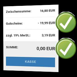 Zwischensumme: 16,80 EUR, Gutscheine: - 19,99 EUR, zzgl. 19% MwSt.: 3,19 EUR, SUMME: 0,00 EUR Kasse-Button
