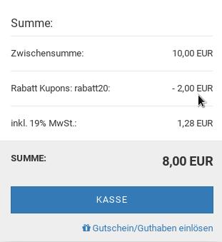 Rabatt Kupons: rabatt20: - 2,00 EUR