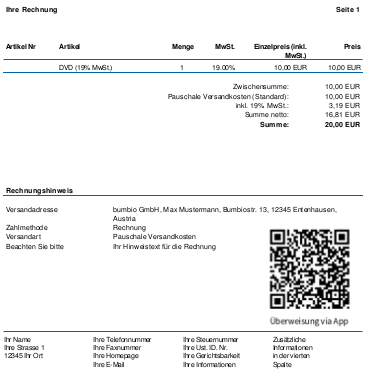 PDF-Rechnung mit QR-Code rechts neben den Zahlungshinweisen