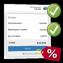 Zwischensumme: 10,00 EUR, Rabatt Kupons: rabatt20: - 2,00 EUR, Summe: 8,00 EUR