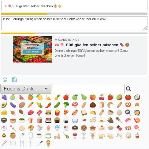 Anzeige zahlreicher Emoji in der Kategorie Food & Drink