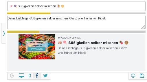 Screenshot der Toolbar mit Eingabefelder für Facebook-Titel und Beschreibung