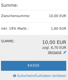 Zwischensumme: 10,00 EUR, inkl. 19% MwSt.: 1,60 EUR, SUMME: 10,00 EUR
