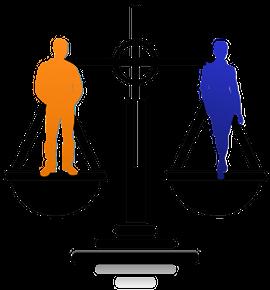 Silhouette zweier Männer, beide auf einer Waagschale stehend