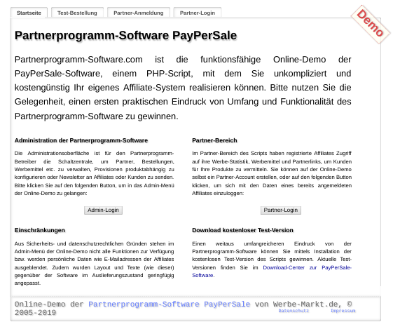 Partnerprogramm-Software PayPerSale: Demo-Startseite