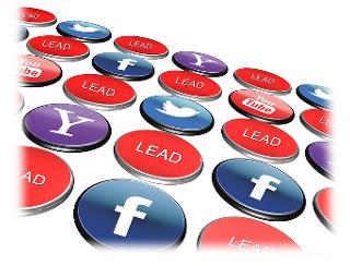 Knöpfe mit Logo von Facebook, Yahoo, Twitter, Youtube und Schriftzug Lead