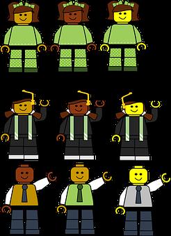 9 sehr ähnlich aussehende Spielzeugfiguren