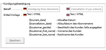 Kündigungsbestätigung, Betreff Deutsch: Kündigung Ihres Abonnements, English: Cancellation of you subscription, E-Mail-Vorlage Deutsch Text / HTML