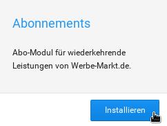 Mauszeiger auf Installieren-Button unterhalb der Kurzbeschreibung des Abonnements-Moduls