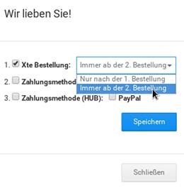 """Xte Bestellung: Auswahlfeld mit Optionen """"Nur nach der 1. Bestellung"""" und """"Immer ab der 2. Bestellung"""", Mauszeiger auf letzterem"""