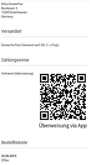 """Zahlungsweise Vorkasse (Überweisung), QR-Code mit Label """"Überweisung via App"""""""
