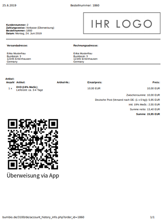 Druckansicht einer Bestellung im Kundenmenü mit Logo oben rechts und QR-Code unten links
