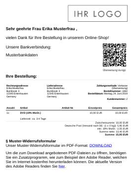 Sehr geehrte Frau Erika Musterfrau, vielen Dank für Ihre Bestellung in unserem Online-Shop! QR-Code Unsere Bankverbindung: Musterbankdaten
