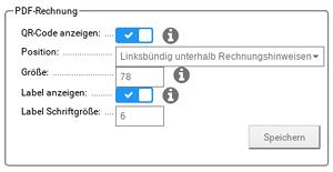 PDF-Rechnung, Position: Linksbündig unterhalb Rechnungshinweisen, Größe: 78, Label Schriftgröße: 6
