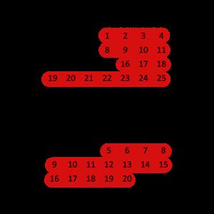 Kalender 2019, rot hinterlegt: 1. - 4. August, 8. - 11. August, 16. - 25. August, 5. - 20. September