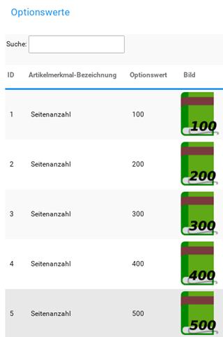 Optionswerte Seitenanzahl 100 bis 500 jeweils mit einem Bild