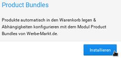 Product Bundles Produkte automatisch in den Warenkorb legen & Abhängigkeiten konfigurieren mit dem Modul Product Bundles von Werbe-Markt.de., Mauszeiger über Installieren-Button