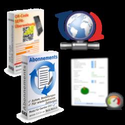 Update-Symbol mit Softwareboxen der Gambio-Module Abonnements, Ladezeitoptimierung und QR-Code SEPA-Überweisung