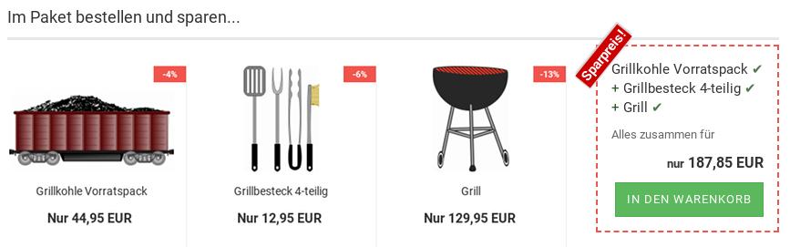 Im Paket bestellen und sparen...Grillkohle Vorratspack Grillbesteck 4-teilig Grill Alles zusammen für nur 187,85 EUR - In-den-Warenkorb-Button