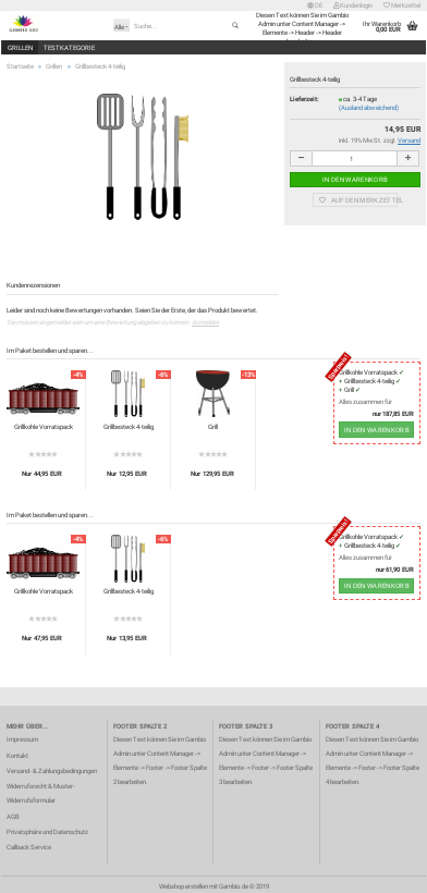 Screenshot einer kompletten Artikelseite mit 2 Product-Bundle-Boxen unterhalb der Artikelbeschreibung