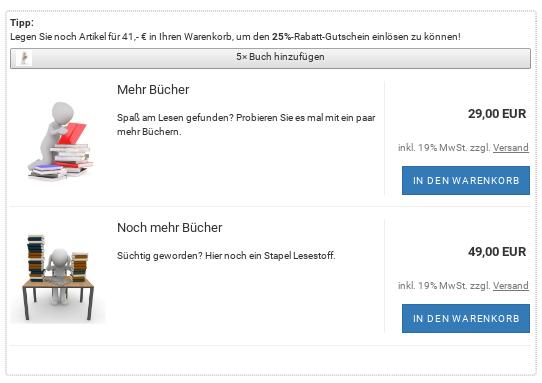 """Cross-Selling-Artikel """"Mehr Bücher"""" und """"Noch mehr Bücher"""" im Warenkorb"""