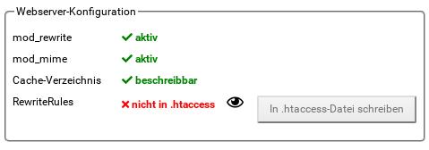 Webserver-Konfiguration: RewriteRules nicht in .htaccess, Button: In .htaccess-Datei schreiben