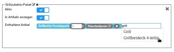 Grillzubehör-Paket: Eingabe eines Produktnamens, Autovervollständigung und Hinzufügen