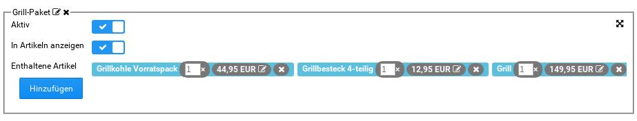 Grill-Paket mit aktivierten Optionen In Aktiv und Artikeln anzeigen, bestehend aus Grill, Grillkohle Vorratspack & Grillbesteck