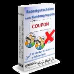 Rabattgutscheine nach Kundengruppen: Mehrfachrabatte verhindern, Gambio-Modul von Werbe-Markt.de