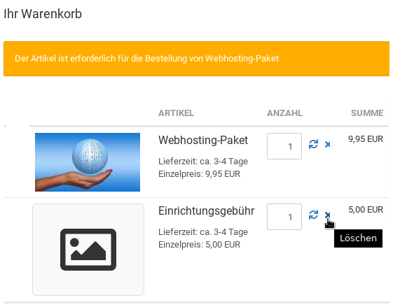 Warenkorb: Der Artikel ist erforderlich für die Bestellung von Webhosting-Paket bei Löschen der Einrichtungsgebühr