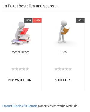 Hinweistext unter Product Bundles: Kostenlose Testversion der Product Bundles für Gambio präsentiert von Werbe-Markt.de