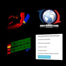 Modulbox Versandkosten-Mehrwertsteuerausweis, Screenshot Partner-werden-Link im Gambio-Kundenkonto und Update-Symbol