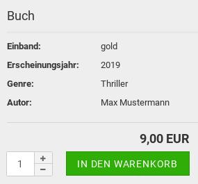 Buch Einband:gold, Erscheinungsjahr:2019, Genre:Thriller, Autor:Max Mustermann 9,00 EUR In den Warenkorb