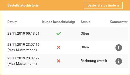 BestellstatushistorieBestellstatus ändern Datum Kunde benachrichtigt Status Kommentar