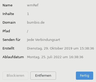Name wmRef, Inhalte 1, Domain bumbio.de, Pfad /, Senden für Jede Verbindungsart, Entfernen, Fertig