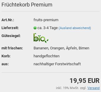 Früchtekorb Premium, Art.Nr.: fruits-premium, Lieferzeit:ca. 3-4 Tage, Gütesiegel: Bio, mit frischen:Bananen, Orangen, Äpfeln, Birnen, Korb: handgeflochten, aus: nachhaltiger Forstwirtschaft