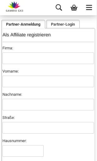 Als Affiliate registrieren Firma: Vorname: Nachname: Straße: