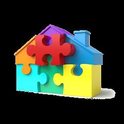 Haus aus Puzzle-Teilen
