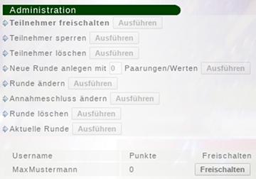 Administration: Teilnehmer freischalten: Username: MaxMustermann, 0 Punkte, Freischalten-Button