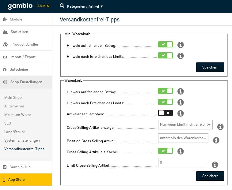 Screenshot Versandkostenfrei-Tipps Konfiguration im Gambio-Admin
