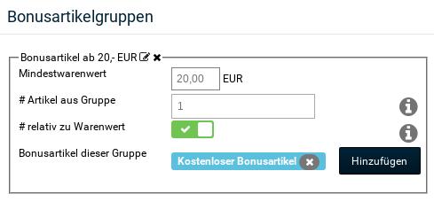 Bonusartikelgruppen Bonusartikel ab 20,- EUR Mindestwarenwert: 20,00 EUR # Artikel aus Gruppe: 1 # relativ zu Warenwert: ja Bonusartikel dieser Gruppe: Kostenloser Bonusartikel