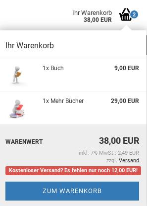 Kostenloser Versand? Es fehlen nur noch 12,00 EUR!