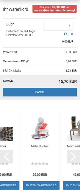 Mobilansicht Gambio-Warenkorb mit Cross-Selling-Artikeln unterhalb des Kasse-Buttons