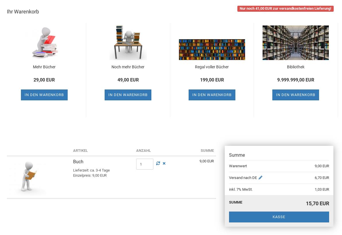 Screenshot Gambio-Warenkorb mit 4 Produktkacheln oberhalb des Warenkorbs